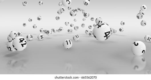 Falling lottery balls against grey background