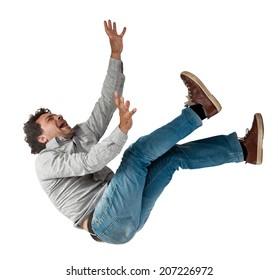 falling man isolated on white background