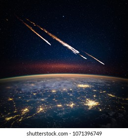 Falling meteorite, asteroid, comet on Earth. Elements of this image furnished by NASA.