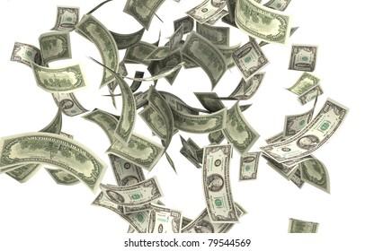 falling money 100 dollar bills