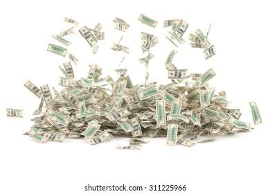 Falling money (dollars) against white background. High quality render