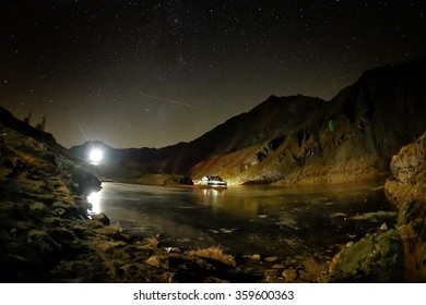 Falling night over Balea Lake, Transylvanian Alps, Romania