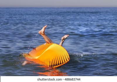 Falling off a paddle board in Redondo Beach, CA