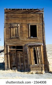 Falling old wooden house in Bodie ghost town in California.