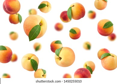 Falling Peach isolated on white background, selective focus