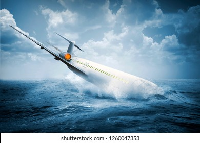 Falling plane accident crashing into the water on the sea