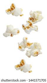 Falling popcorn, isolated on white background