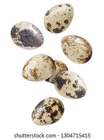 Falling quail egg, isolated on white background, clipping path, full depth of field