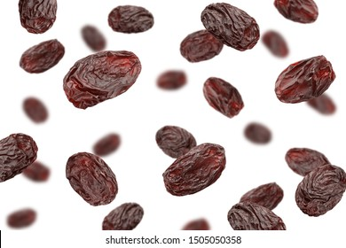 Falling raisin isolated on white background, clipping path, selective focus