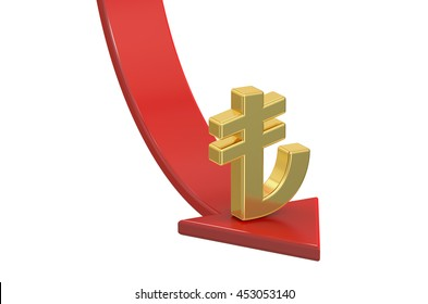 Falling red arrow with symbol of Turkish Lira, crisis concept. 3D rendering isolated on white background