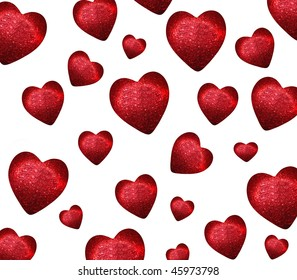 falling red hearts on a white background