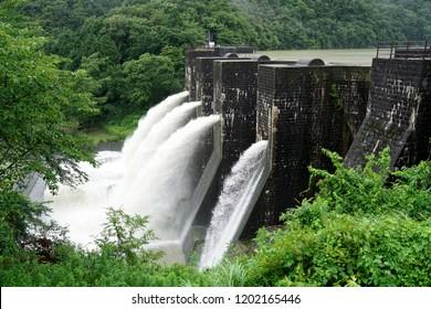 Falling river water in old bricked dam at Honendam, Kagawa, Japan