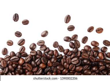 Falling roasted coffee beans isolated on white background.