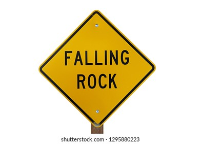 falling rock roadsign isolated on white