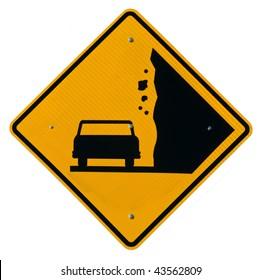 Falling Rock Zone yellow metal road sign