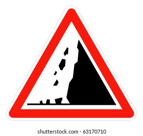 Falling rocks or landslide warning, isolated on white background.