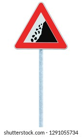 Falling rocks risk caution road sign pole post large detailed isolated vertical roadside stones traffic warning signage macro closeup rock slide fall danger possible red frame triangle signpost detail