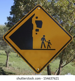 Falling Rocks sign on a country road in Australia