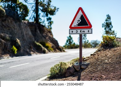 Falling rocks sign. Road to Teide volcano. Tenerife, Canary Islands. Spain