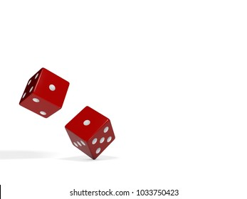 Falling, rolling red plastic dice on a white studio background with number dots on them from one to six