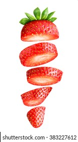 Falling sliced strawberry isolated on white Clipping Path