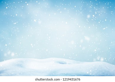 Falling snow natural winter background