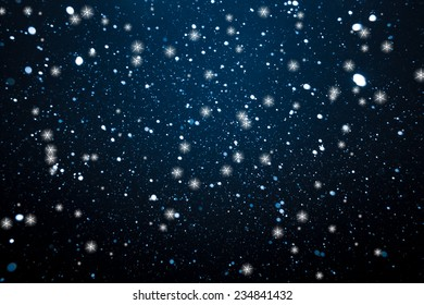 Falling Snow and Stars On The Blue Background