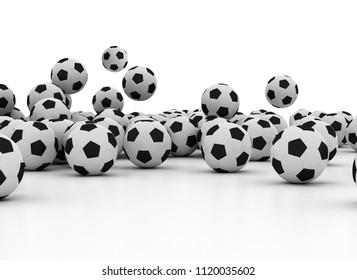 Falling Soccer Balls Isolated on White Background. 3D render