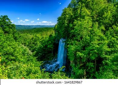 Falling Spring Falls,  a wayside waterfall along US Route 220 near Covington, Virginia, USA