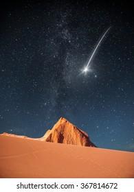 falling star . Moon Valley in Atacama Desert, Chile