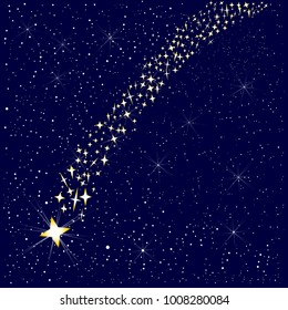 A falling star in the night sky