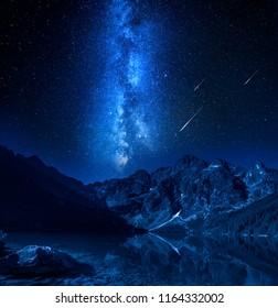 Falling stars, milky way at the lake in Tatras, Poland
