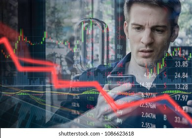 Falling stock prices and angry disappointed investor fails and loses money.  Failed and unsuccessful young man has headache and stress.