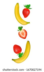 Falling strawberries fruits whole and cut in half and bananas isolated on white background with clipping path. Flying food.