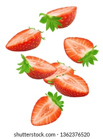 Falling strawberry isolated on white background, clipping path, full depth of field, high quality photo