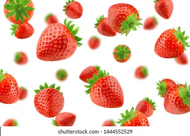Falling strawberry isolated on white background, selective focus