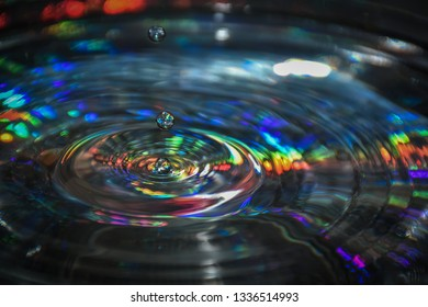 Falling water drop into water and making circles on water surface. Close up of drop with colorful background