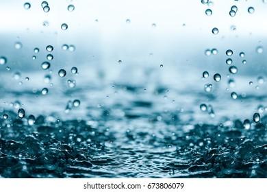Falling water drops.
