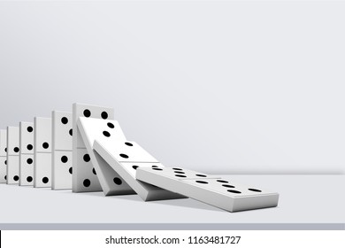 Falling White Dominos