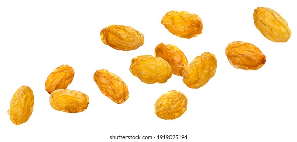 Falling yellow raisins isolated on white background with clipping path