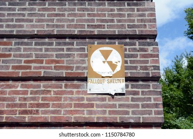 Fallout Shelter Sign On Side of Building