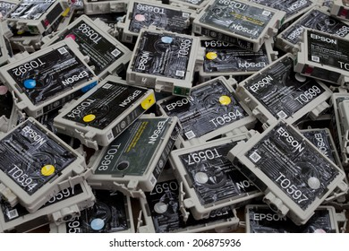 FALLS CHURCH, VA - JULY 17: A load of used non refillable OEM brand name ink cartridges going for plastic recycling lying on a heap on July 17, 2014 in Falls Church, VA.