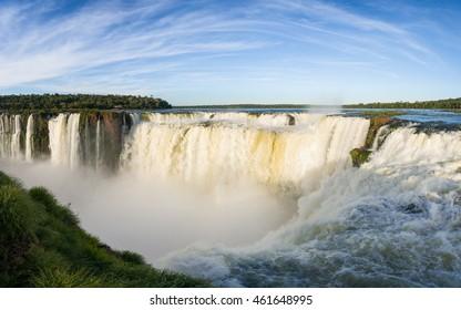 Falls Devil's Throat, Iguazu, Argentina part, sunset panorama