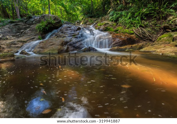falls occur naturally asian rain-forests in thailand