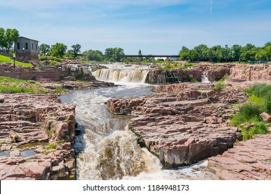 Falls Park along the Big Sioux River in Sioux Falls South Dakota