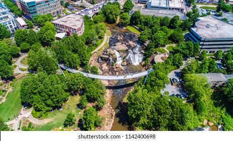 Falls Park and Liberty Bridge in Downtown Greenville South Carolina SC