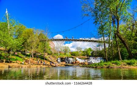 Falls Park Reedy River and Liberty Bridge Panorama