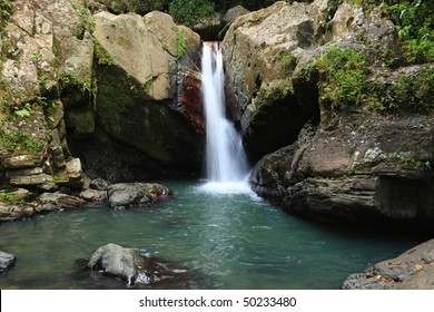 Falls and pool below La Mina Falls in the El Yunque rain forest in the Caribbean National Forest, Puerto Rico