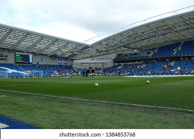 FALMER, BRIGHTON, EAST SUSSEX / UNITED KINGDOM - APRIL 28 2019: General view of American Express Community Stadium prior to the match between Arsenal and Brighton and Hove Albion in the FAWSL.
