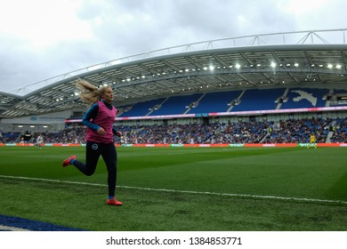 FALMER, BRIGHTON, EAST SUSSEX / UNITED KINGDOM - APRIL 28 2019: Amanda Nildén warms up during the match between Arsenal and Brighton and Hove Albion in the FA Women's Super League (FAWSL).